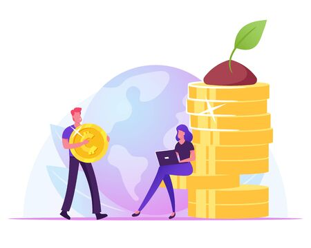 Businessman Carry Huge Golden Coin, Businesswoman Working on Laptop Sitting at Money Pile