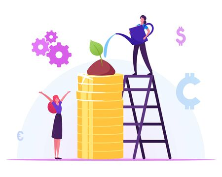 Corporate Social Responsibility Concept. Business Woman Watering Green Plant Growing on Pile of Gold Coins Vector Illustration