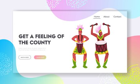 Artists with Percussion Instruments Website Landing Page. Rio Carnival Musicians in Feather Clothing Playing Drums