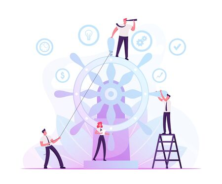 Corporate Governance and Team Work Concept. Group of Businesspeople Trying to Move Huge Steering Wheel