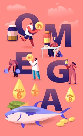 Omega Fat Concept. People Take Products and Vitamins with Polyunsaturated Fatty Acids Natural Organic Food