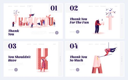 Thank You Website Landing Page Set. Grateful People with Huge Typography and Letters made of Red Brick Stock fotó - 138295333