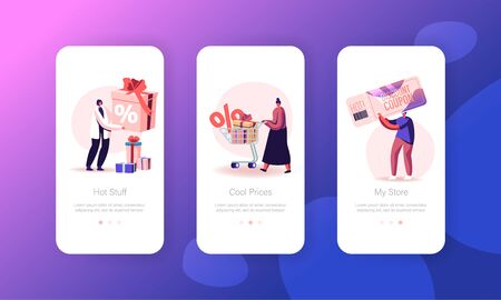 Sale Mobile App Page Onboard Screen Set. Customers Using Discount Coupons for Buying Things in Store. Consumerism, Price Off Promo Concept for Website or Web Page, Cartoon Flat Vector Illustration