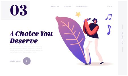 Super Star Singing Song Website Landing Page. Woman on Stage Performing in Karaoke Bar. Artist Singing at Music Event or Concert, Corporate Party Web Page Banner. Cartoon Flat Vector Illustration