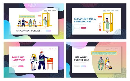 Applicants with Cv Documents Hiring Work Website Landing Page Set. Young Man and Woman Sitting on Chairs in Hallway Waiting Appointment Web Page Banner. Cartoon Flat Vector Illustration, Line Art Ilustração