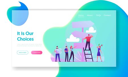 Choice Way Website Landing Page. Business People Stand at Road Pointer with Hard and Easy Directions Making Crossroad Decision what Path to Choose Web Page Banner. Cartoon Flat Vector Illustration