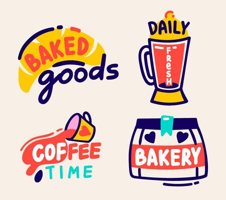 Baked Goods, Daily Fresh, Coffee Time and Bakery Labels Set Isolated on White Background. Cute Hand Drawn Elements and Typography for Cafe Production or Package Design. Cartoon Vector Illustration 일러스트