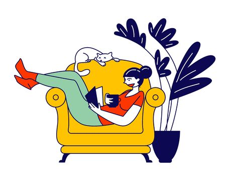 Reading Books Hobby. Young Woman Sitting on Cozy Armchair at Home Read Interesting Book with Cat Sleeping beside. Reader Deep Immersion to Fantasy World Cartoon Flat Vector Illustration, Line Art
