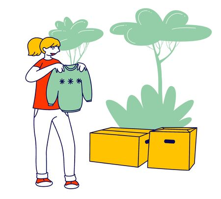 Selfless Kind Woman Volunteer of Charity Organization Collecting Clothes for Beggars Living on Street. Girl Holding Sweater from Box with Donated Dressing. Cartoon Flat Vector Illustration, Line Art