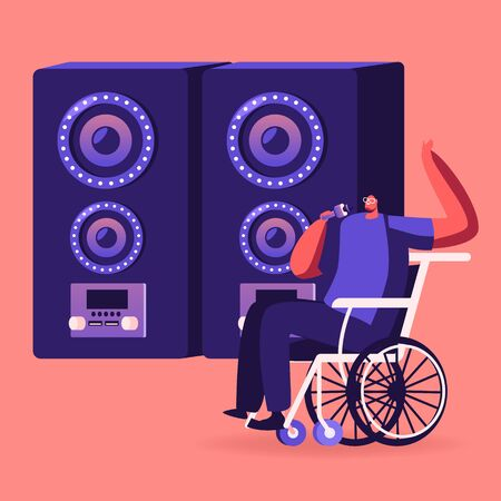 Handicapped Man Sitting in Wheelchair Singing at Karaoke Bar near Huge Dynamics. Disabled Male Character Enjoying Life Spend Time in Recreational Place Weekend Leisure Cartoon Flat Vector Illustration