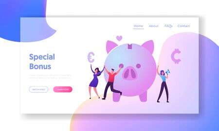 Bonus Card and Loyalty Program Website Landing Page.Tiny Male and Female Characters Happily Jumping near Piggy Bank, Woman Promoter Shout to Megaphone Web Page Banner. Cartoon Flat Vector Illustration