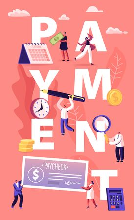 Payment Concept. People Paying Money for Services and to Bank Loan and Credit Using Cash and Paycheck. Male and Female Characters Tax Poster Banner Flyer Brochure. Cartoon Flat Vector Illustration
