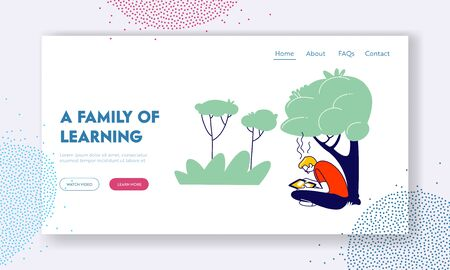 Education, Gaining Knowledge Website Landing Page. Young Man Student Sitting with Tablet Learning Homework or Prepare to Exams in University Web Page Banner. Cartoon Flat Vector Illustration, Line Art