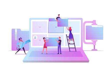 Electronic Document Management. Digital Data File Computer Archive Storage System, Information Database Catalog. Business Characters at Huge Laptop with Folders on Screen Cartoon Vector Illustration