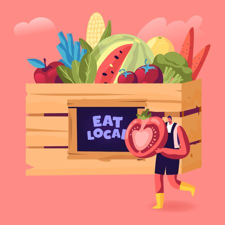 Young Man Seller Standing Outdoors Offer Fresh Organic Local Fruit and Vegetable Production at Farmer Marketplace Fair. Ecological Natural Seasonal Farm Products. Cartoon Flat Vector Illustration