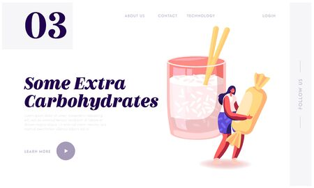 Good and Bad Carbohydrate Resources Website Landing Page. Products with High and Low Glucose Level. Woman Hold Huge Sweet near Glass with Chia Seeds Web Page Banner. Cartoon Flat Vector Illustration
