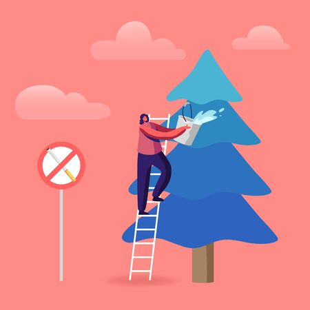 Volunteer Woman Extinguish Big Fire Spraying Water from Bucket on Burning Fir-Tree with Prohibited Smoking Sign. Environment Protection, Nature Ecology Saving Concept. Cartoon Flat Vector Illustration