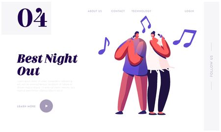 Cheerful Couple Singing Song in Karaoke Bar Website Landing Page. Man and Woman Standing with Microphones on Stage. Weekend Sparetime, Creative Hobby Web Page Banner. Cartoon Flat Vector Illustration