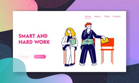 Job Interview with Potential Business Partners Website Landing Page. Serious Young Man and Woman with Cv Sitting on Chairs in Waiting Room Web Page Banner. Cartoon Flat Vector Illustration, Line Art