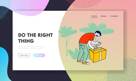 Man Volunteer in Donation Center Packing Box with Donating Things Website Landing Page. Charity Organization Help Poor People in Troubles Web Page Banner. Cartoon Flat Vector Illustration, Line Art