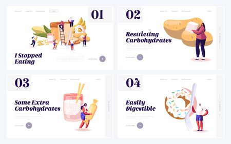 Carbohydrate Healthy and Unhealthy Nutrition Website Landing Page Set. Cholesterol and Glucose, Diet for Diabetics People with Low Sugar Products Web Page Banner. Cartoon Flat Vector Illustration