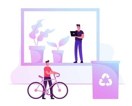 Green Eco Friendly Office Concept. Businessman Riding at Work on Bicycle, Male Character Working at Place with Plants and Recycling Litter Bin for Garbage Separation. Cartoon Flat Vector Illustration Ilustração
