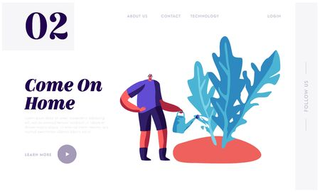 Gardener Planting Local Eco Food Website Landing Page. Man Enjoying Gardening Hobby. Farmer Working in Garden Care of Plants and Watering Greenery Web Page Banner. Cartoon Flat Vector Illustration