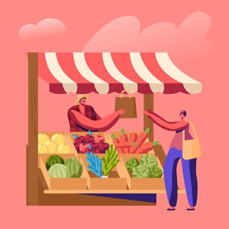 Farmer Sell Fresh Fruit Vegetable Products to Woman Customer at Counter Desk. Outdoors Farm Market, Purchaser Character Buying Ecological Healthy Organic Local Food Cartoon Flat Vector Illustration