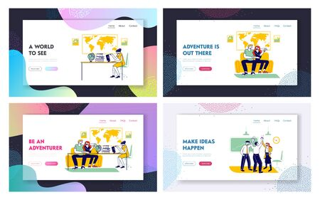 Travel Agency Service Website Landing Page Set. Happy Couple Going for Vacation Visiting Trip Company for Choosing Route. Tourism Hobby Web Page Banner. Cartoon Flat Vector Illustration, Line Art  イラスト・ベクター素材