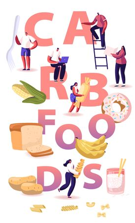 Carb Foods Concept. Tasty and Delicious Diet to Gain Weight with Snacks and Junk. Healthy and Unhealthy Carbohydrate Production Choice Poster Banner Flyer Brochure. Cartoon Flat Vector Illustration