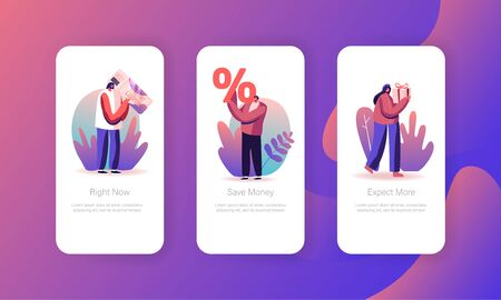 Seasonal Sale with Discount Coupons Mobile App Page Onboard Screen Set. Cheerful Shopaholic People Purchase Gifts. Buyers Shopping Fun Concept for Website or Web Page, Cartoon Flat Vector Illustration Ilustração