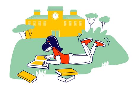 Education Concept, Girl Lying on Grass Reading Book in School, College or University Front Yard. Student Back to School, Female Character Gaining Knowledge Cartoon Flat Vector Illustration, Line Art  イラスト・ベクター素材
