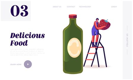 Local Food, Organic Production Website Landing Page. Tiny Female Character Stand on Ladder near Huge Juice or Syrup Bottle Holding Fresh Strawberry Web Page Banner. Cartoon Flat Vector Illustration