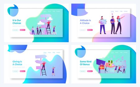 Bonus Loyalty System, People Choose Way at Crossroad Website Landing Page Set. Businesspeople Life Challenge, Hike Outdoors Activity, Shopping Discount Web Page Banner Cartoon Flat Vector Illustration