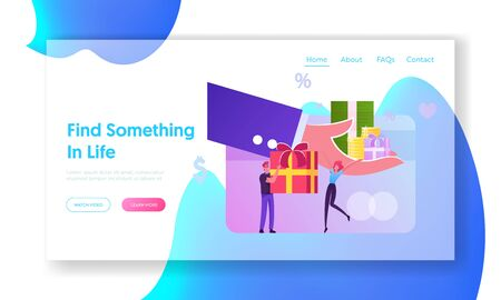 Festive Sale and Shopping Promotion Offer, Bonus System Website Landing Page. Huge Human Hand Give Gift Box to Customers. People Using Buying Coupons Web Page Banner. Cartoon Flat Vector Illustration Ilustrace