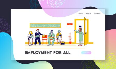 People Waiting Job Interview Website Landing Page. Applicants with Cv Documents Hiring Work. Female Hr Agent Invite Candidate to Cabinet Web Page Banner. Cartoon Flat Vector Illustration, Line Art