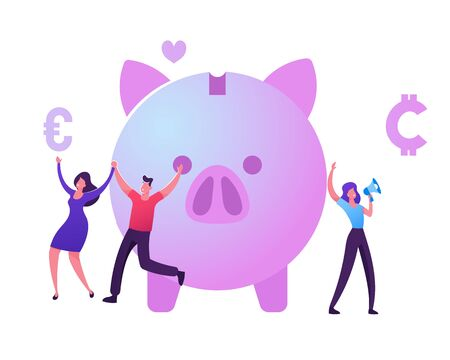 Bonus Card, Loyalty Program, Earn Reward, Redeem Gift, Perk Concept. Tiny Male and Female Characters Happily Jumping near Piggy Bank, Woman Promoter Shout to Megaphone Cartoon Flat Vector Illustration Ilustrace