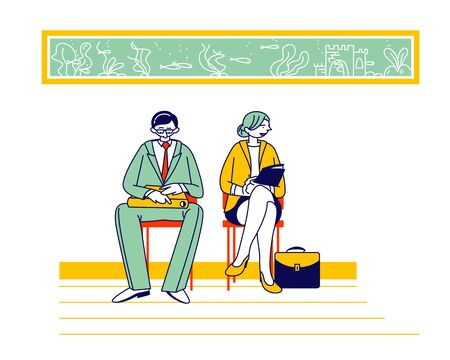 Recruitment, Job Interview Concept. Unemployed People Searching Job. Man and Woman Applicants with Cv Documents Sitting in Office Hallway Waiting Appointment Cartoon Flat Vector Illustration, Line Art