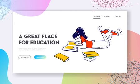 Student Back to School Education Website Landing Page. Girl Reading Book in College or University. Female Character Gaining Knowledge Web Page Banner. Cartoon Flat Vector Illustration, Line Art Stok Fotoğraf - 138373848