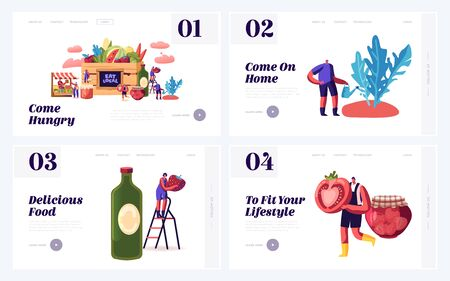 Local Food Eating Website Landing Page Set. Farmers Grow Traditional Environment Homestead Fruit, Greenery and Vegetable in Village or Countryside Web Page Banner. Cartoon Flat Vector Illustration