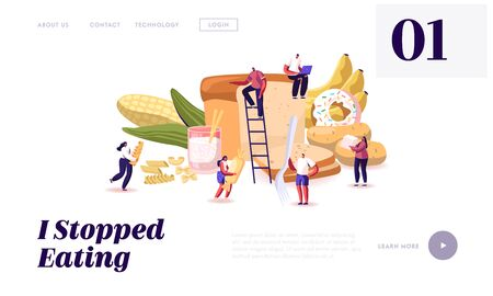 Carbohydrate Nutrition Website Landing Page. Tiny Characters Eating Sugar and Wheat Food. Healthy and Unhealthy Carbs Types, Meals with High Energy Web Page Banner. Cartoon Flat Vector Illustration  イラスト・ベクター素材