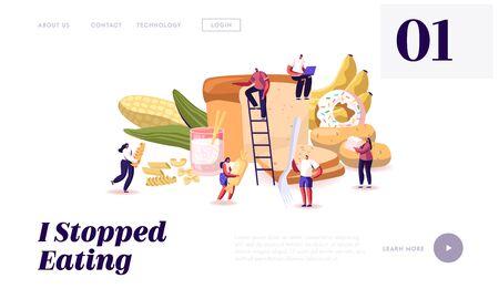Landing Page der Kohlenhydrat-Ernährungs-Website. Winzige Charaktere, die Zucker und Weizen essen. Gesunde und ungesunde Kohlenhydratarten, Mahlzeiten mit hochenergetischem Webseitenbanner. Flache Vektorillustration der Karikatur