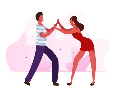 Young People Dancing Samba on Brazil Dance Disco Party or Rio Carnival. Man and Woman in Fashioned Clothing Moving to Music Rhythm. Happy Leisure and Hobby Sparetime Cartoon Flat Vector Illustration