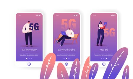 5G Internet Connection Mobile App Page Onboard Screen Set. Young People Using Cellular for Gadgets Communication Online, Networking Concept for Website or Web Page, Cartoon Flat Vector Illustration