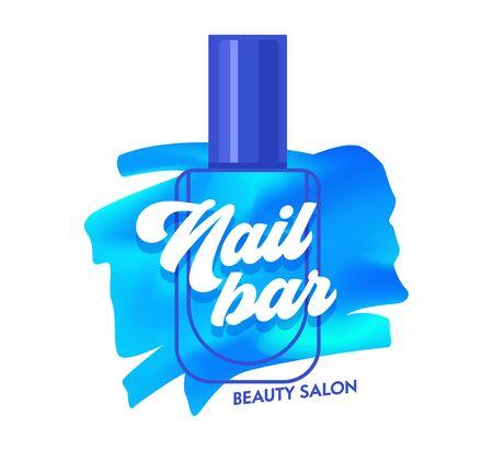 Nail Bar Creative Banner, Blue Nail Polish Stroke and Bottle Beauty Salon or Studio Logo, Sticker Tag Concept for Poster Flyer Brochure Design. Artistic Print or Icon Cartoon Flat Vector Illustration