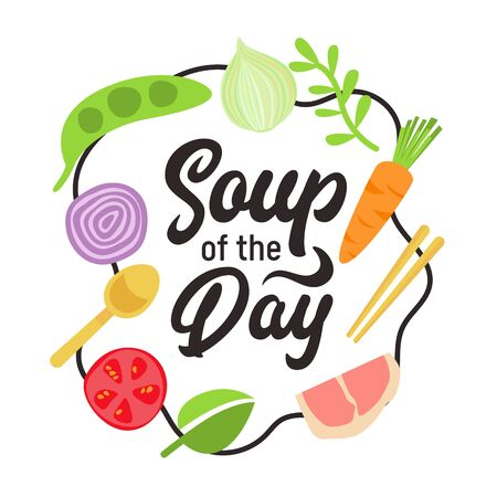 Soup of the Day Design Concept with Typography and Food Ingredients for Cooking Meat and Vegetables for Cafe, Bar or Restaurant Menu Poster Banner Flyer Brochure. Cartoon Flat Vector Illustration Stok Fotoğraf - 138460516