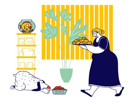 Senior Woman Carry Tray with Pile of Fresh Pies. Grandmother Hospitality and Fat Food Concept. Fatty Dog Eating on Floor. Granny Baked Patties for Family Cartoon Flat Vector Illustration, Line Art