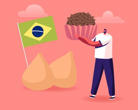 Male Character Holding Huge Brazilian Truffle Candy Brigadeiro with Brazil National Flag and Chicken Coxinhas Stand beside. Traditional Food of Latin America Concept Cartoon Flat Vector Illustration