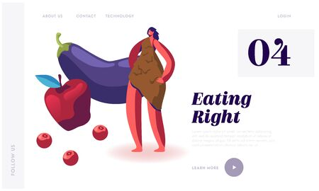 Paleo Diet Concept Website Landing Page. Cave Woman in Animal Skin Stand near Apple and Eggplant. Dietary Plan of People Eat Food at Paleolithic Era Web Page Banner. Cartoon Flat Vector Illustration