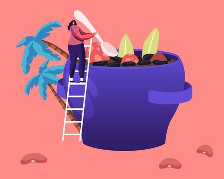 Brazil Food Concept. Tiny Female Character Stand on Ladder Cooking Traditional Delicious Feijoada Meal Made of Stew of Beans with Beef and Pork Typical Brazilian Dish. Cartoon Flat Vector Illustration